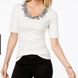 Tommy Hilfiger Cotton Embroidered Top